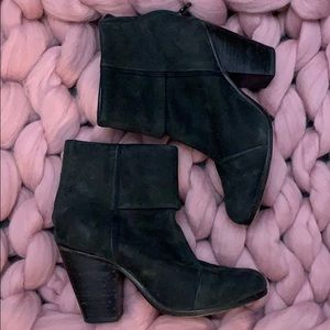 RAG AND BONE size 8 Newbury black suede booties